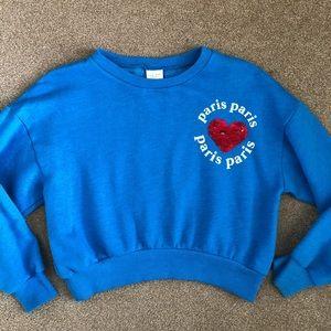Zara Girl's PARIS Crop Sweatshirt size 9 Flippy